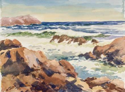 Edward Garbely 1908-1999 American Watercolor