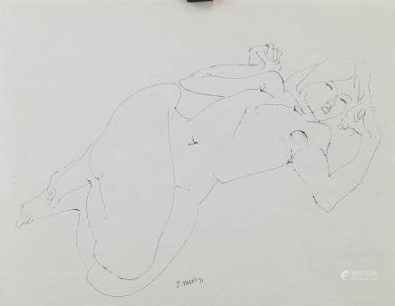 J. Pages French Ink Figure Study Dated 1971
