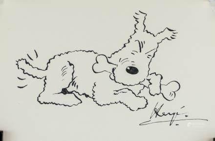 Herge Belgian Pop Art  Ink on Paper Snwoy Tintin