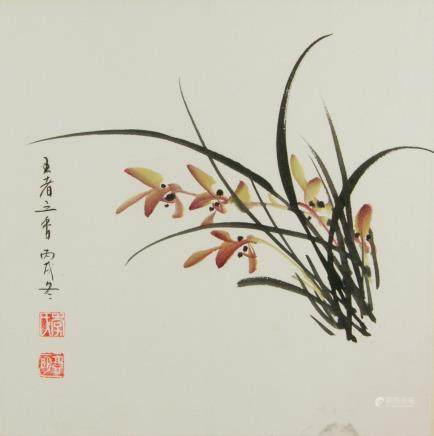 Chang Yaming Chinese Watercolor Orchid Framed