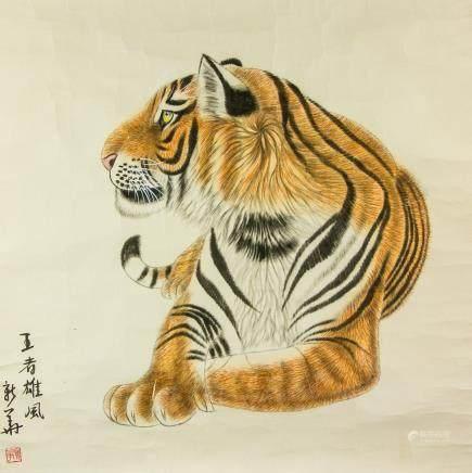 Ge Xinhua b.1958 Chinese Watercolor Tiger