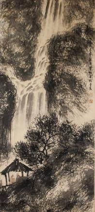 Fu Baoshi 1904-1965 Chinese Watercolor Waterfall