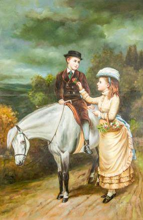 Oil on Canvas Chinese XX Portrait of Couple