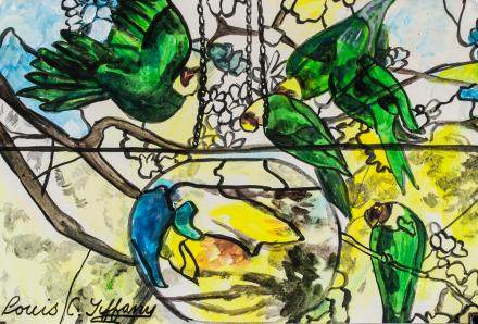 Louis C. Tiffany American Mixed Media on Paper