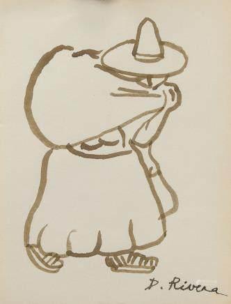 Diego Rivera Mexican Post Impressionist WC Figure