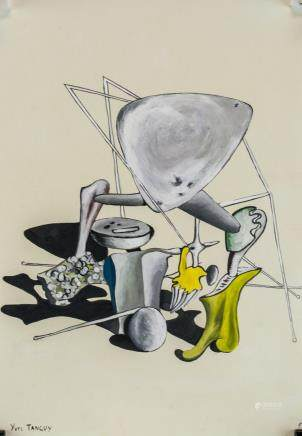 Yves Tanguy American-French Surrealist Gouache