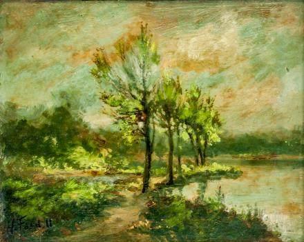 Oil on Panel Framed Landscape Signed H. Ford II