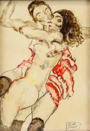 Egon Schiele Austrian Expressionist Gouache