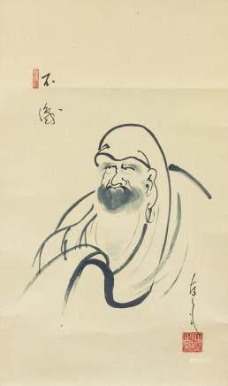 Shan Sou Chinese Ink Bodhidharma Scroll