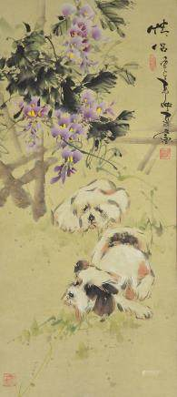 Chinese Watercolor Puppies Scroll Signed by Artist