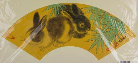 Ding Ducai b.1974 Chinese Watercolor Rabbits