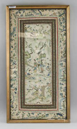 19th Century Chinese Embroidery Panel Framed