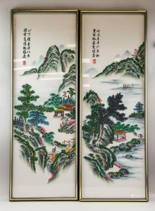 Pair Chinese Luxiu Embroidery Panel with Frame