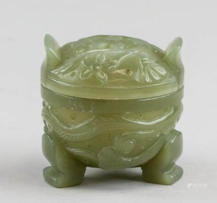Chinese Serpentine Tripod Censer with Lid