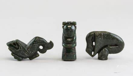 3 Assorted Chinese BC Green Jade Carved Toggles