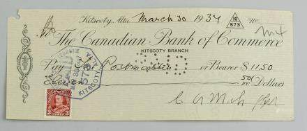 1934 Canadian Bank of Commerce Cheque with Stamp