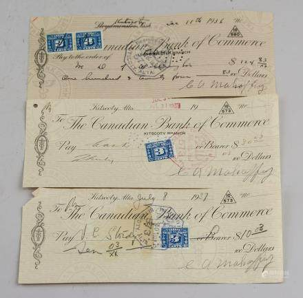 3 Assorted Canadian Bank of Commerce Cheques