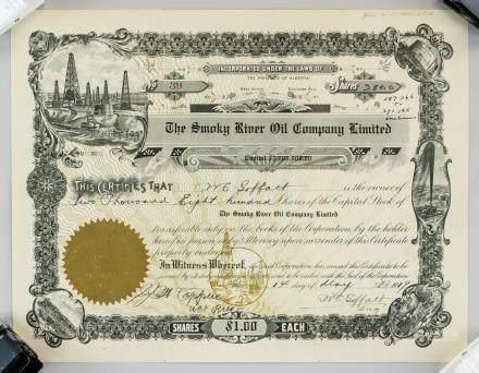 1919 The Smoky River Oil Company LTD Stock Cert