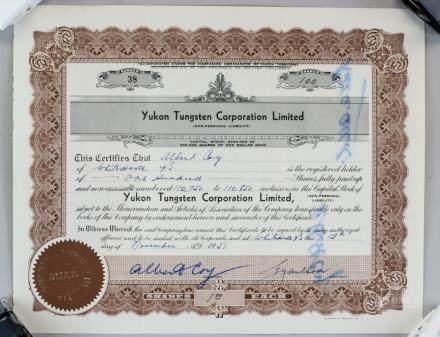 1951 Yukon Tungsten Corporation LTD Stock Cert