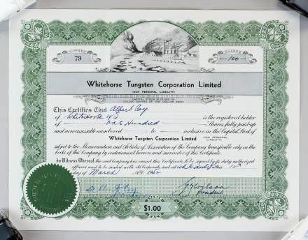 1952 Whitehorse Tungsten Corporation Stock Cert