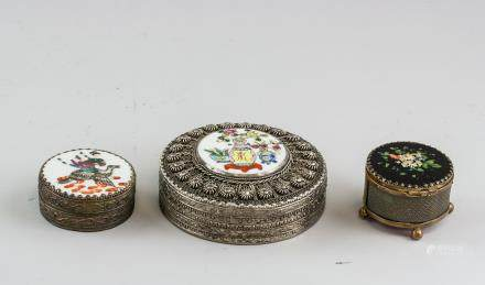 3 PC Chinese Qing Dynasty Metal Cosmetic Cases
