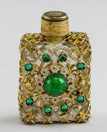 French Style Glass and Gilt Frame Perfume Bottle