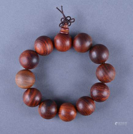 Chinese Yellow Agalloch Wood Carved Bracelet
