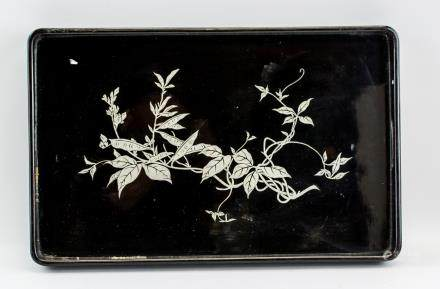 Chinese Black Lacquer Wood Tray with Printing