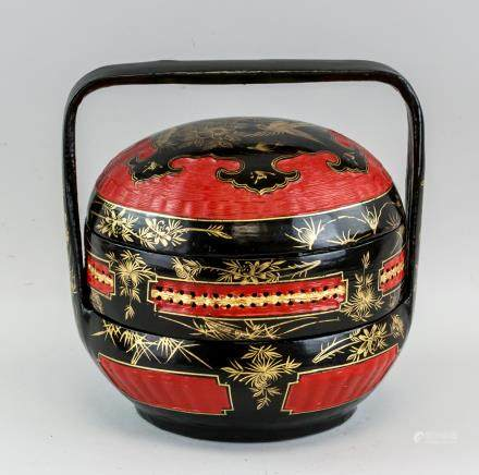 Chinese Bamboo Two-Layer Basket with Lid