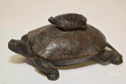 19th C. Japanese Bronze Two Turtle Ink Well