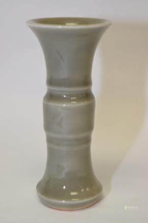 19th C. Chinese Pea Glaze Gu Vase