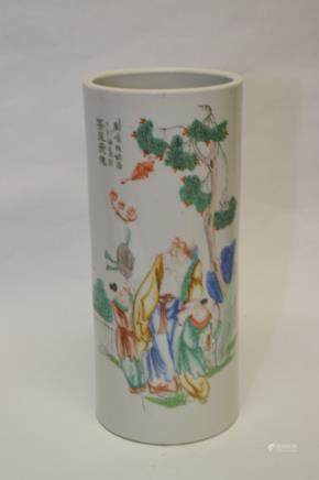 19-20th C. Chinese Famille Verte Hat Stand