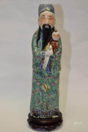 19th C. Chinese Famille Rose Fortune Deity