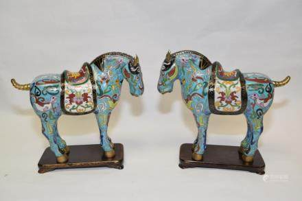 Pair of Chinese Cloisonne Horses with Stands