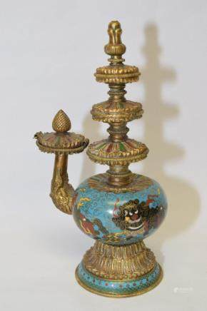 18-19th C. Chinese Cloisonne Religious Wine Pot