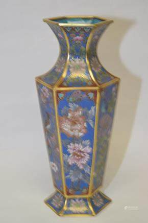 Chinese Cloisonne Hexagonal Vase