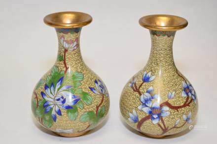 Pair of Chinese Cloisonne Flower Vases
