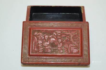 19th C. Chinese Cinnabar Carved Box