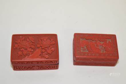Two 19-20th C. Chinese Cinnabar Carved Boxes