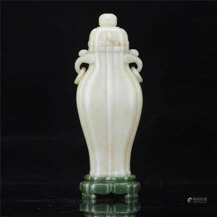 A Chinese  White Jade Vase with Twin Elephant Ears