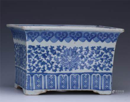 A Chinese  Blue and White  Planter with Floral Motif