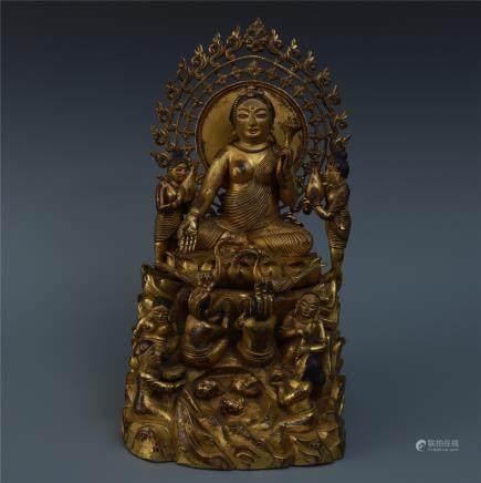 A Finely Cast Gilt Bronze Figure of Green Tara