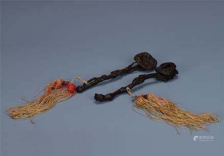 Finely Carved Pair of Aloeswod  Scepter with Tassles
