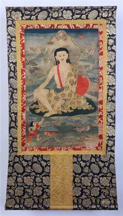 A Chinese Silk Embroidered Thangka