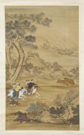 An Anonymous Chinese Silk Scroll Painting of Flowers and Birds