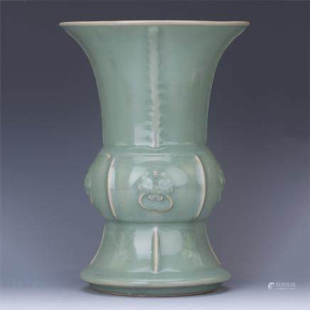 A Chinese Celadon Glazed Gu Vase with Beast Ears