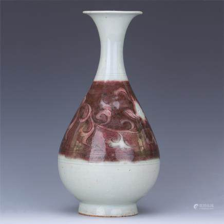 A Chinese Iron Red Yuhuchunping Vase