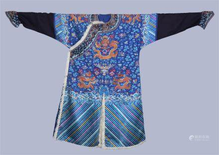 A Chinese Imperial Embroidered Silk Winter Dragon Robe