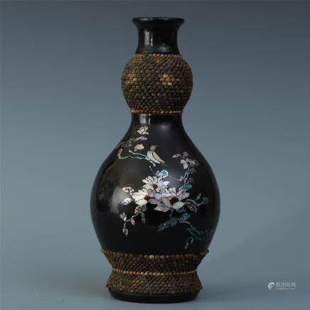 A Black Lacquer Vase with Mother-of-Pearl Inlay