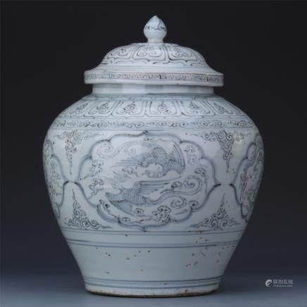 A Chinese Iron Red 'Phonix' Jar and Cover